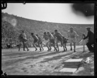 Paavo Nurmi racing against the Sherman School at the Coliseum, Los Angeles, 1925