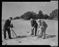 Clarence B. Mitchell, Lorado Taft, and Hamlin Garland at the museum groundbreaking, Griffith Park, Los Angeles, 1934