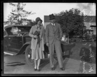 Helen Wills Moody and Frederick S. Moody Jr. return from a cruise, Los Angeles, 1929