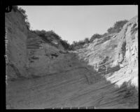Mountain to be excavated during expansion of Newhall Pass, Los Angeles County, 1928