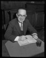 Judge Nye, the new presiding judge of the Municipal Court, Los Angeles, 1934