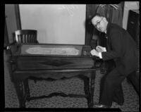 Judge Nye, new presiding judge of the Municipal Court, plays Skippy Board, Los Angeles, 1934
