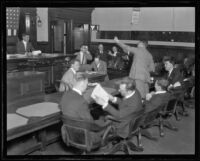 Courtroom scene at Madalynne Obenchain trial, Los Angeles, ca. 1921