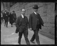 Arthur C. Burch walks to Madalyne Obenchain murder trial, Los Angeles, 1921-1922