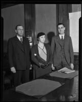 Accused murderers Libbie and Ivan Olson with Leonard Wilson, Los Angeles, 1932