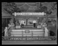 Two women stand in front of San Diego County's display at the National Orange Show, San Bernardino, 1934