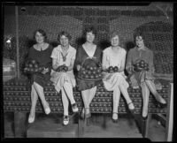 Five women pose with oranges at the Valencia Orange Show, Anaheim, 1926