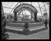 Mayflower display at the Valencia Orange Show, Anaheim, 1921