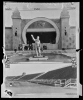 Statue and Stadium at Pacific Southwest Exposition, Long Beach, 1928