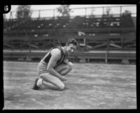 Charley Paddock warming up, Los Angeles, 1920s