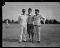 Charley Paddock, Charles Hoff and third pose for photograph, Los Angeles, 1920s