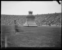 Giant replica of the Liberty Bell at the Pageant of Liberty at the Coliseum, Los Angeles, 1926