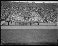 Chorus sings in the stands at the Pageant of Liberty at the Coliseum, Los Angeles, 1926