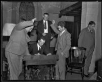 Charles K. Basil is sworn in at court, Los Angeles, 1934