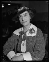 Lois Pantages sitting in courtroom during trial of Alexander Pantages (husband), Los Angeles, 1929