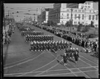 Officers march in the Preparedness Parade, Los Angeles, 1934