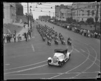 Parade with State Motorcycle Officers on W. 1st St and Spring St, Los Angeles, 1934