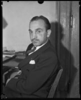 Albert A. Post before his appearance before the court on charges of conspiracy to defraud the government, Los Angeles, 1934