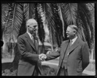 Leonard Butler Slosson shakes hands with Roscow Pound, Pasadena, 1930