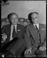 Drs. Frank S. Dillingham and Winfield Scott Pugh talk about issues in the medical community, Los Angeles, 1934