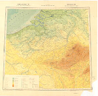Belgique Carte Oro-Hydrographique. België Oro-Hydrografische Kaart
