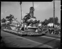 """""""Beach Memories"""" float in the Tournament of Roses Parade, Pasadena, 1949"""