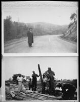 Man standing on mountain road and men with wooden planks, [1920-1939?, rephotographed 1940s?]