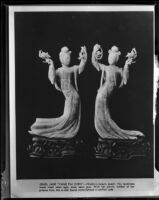 Two jade curved figurines of women, Beverly Hills, 1950