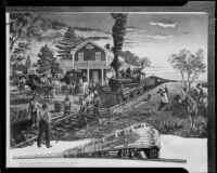 Photomechanical print of 19th and 20th century railroad trains