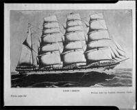 Iron clipper ship, Loch Carron, photographed reproduction, 1951