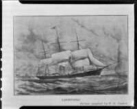 Clipper ship, Lightning, photographed reproduction, 1951