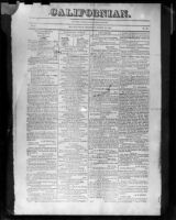 Front page of Californian, March 15, 1848, photographed, 1950