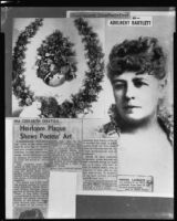Poet Ina Donna Coolbrith article with 1880's portrait and 1888 shell wreath, Santa Monica, 1953