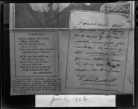 Newspaper print of poem and note by Ina Donna Coolbrith, 1926, rephotographed, 1953