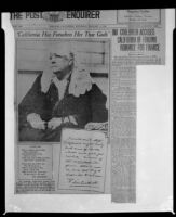 Article on poet Ina Donna Coolbrith, Jan. 2 1926, rephotographed, 1953