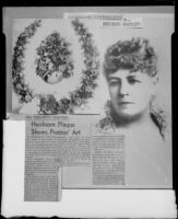 Article about poet Ina Donna Coolbrith with an 1880's portrait and an 1888 shell wreath, Santa Monica, 1953