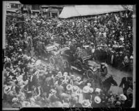 Theodore Roosevelt riding in open car in downtown Los Angeles, Los Angeles, 1911