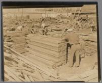 Workers in a lumber yard, copy print, Santa Monica, 1930s