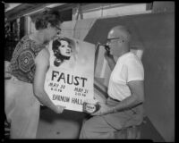 Poster announcing Faust performance at Barnum Hall and two people, Santa Monica, 1960