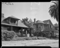 View of houses, likely on Ocean Ave., Santa Monica, circa 1952