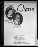 "Promotional announcement for a performance of ""Liliane"", Los Angeles, 1952"