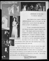 "Manuscript with photographs regarding a Santa Monica Civic Opera production of ""Lucia di Lammermoor,"" Santa Monica, 1951"