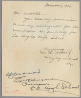 Consent for use of image, signed by Mrs. F. C. Schmid and Marjory Schmid, 1939