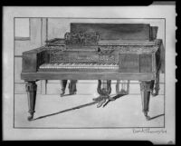 Watercolor sketch of a piano signed by David Thomas, 1949, [photographed 1949-1953]