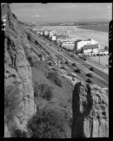 Pacific Coast Highway at the base of the California Incline and Santa Monica Beach, 1946-1950