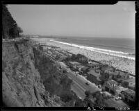 Palisades cliff face with Santa Monica Beach below, Santa Monica, circa 1950