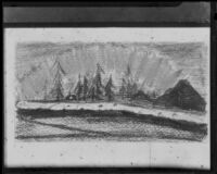 Sketch of spruce trees along the Yukon River, 1910