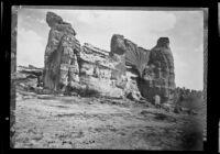 Natural rock bridge and towers at Acoma, New Mexico, 1886