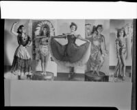 Montage photograph of Barbara Lee Tramutto in 5 poses in ethnic costumes, Santa Monica, 1951