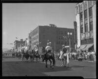 Equestrian unit in Elks' parade, Santa Monica, 1939 or 1952